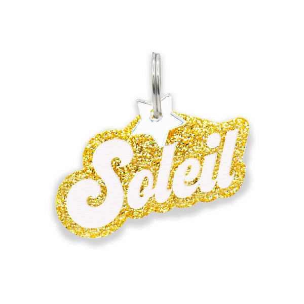 Dog ID Tag: Double-Sided Retro Nameplate