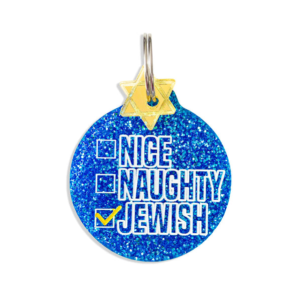 NIce, naughty, jewish dog tag in blue glitter with star of david mini charm.