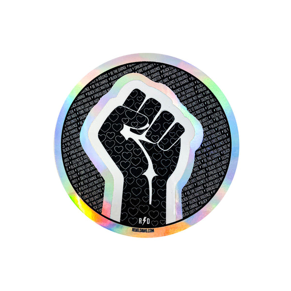 round sticker, solidarity sticker, black lives matter, fist , silence is violence, be the change , spread love not hate