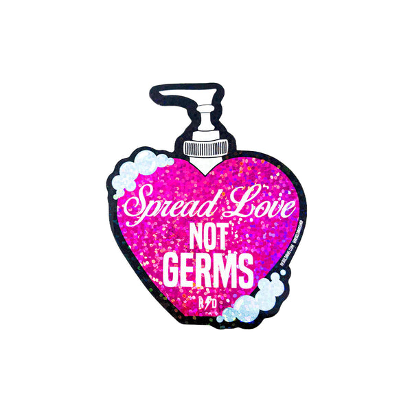 pink glitter heart soap bottle sticker, spread love not germs