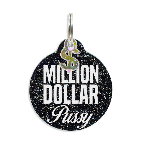 Million Dollar Pussy Tag, Round black glitter with Dollar sign charm