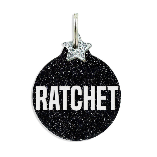 Megan Thee Stallion Ratchet  Dog tag on black glitter with star charm