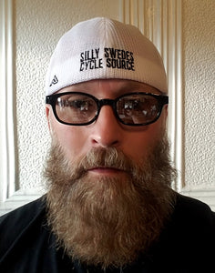 Silly Swedes Cycle Source Mesh fitted Hat- RED front BLACK bill- WHITE mesh- BLACK writing on back