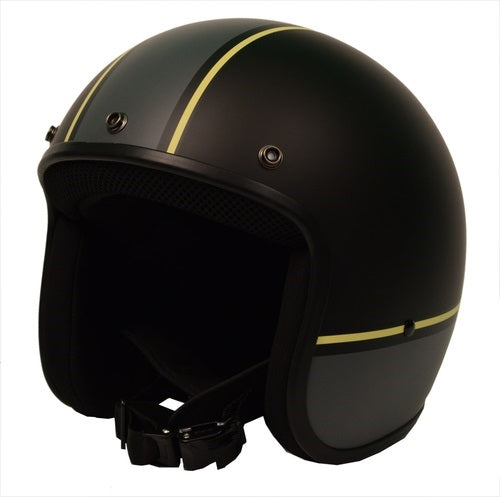 Sick Lid 3/4 Retro GREY AND YELLOW Racing Stripe