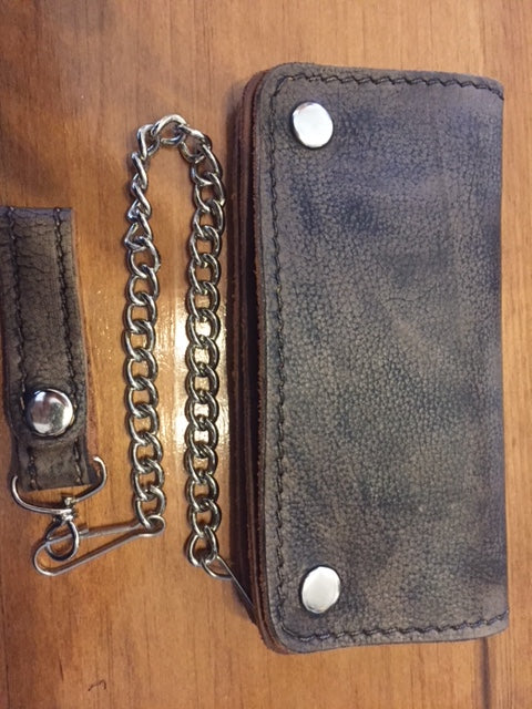Heavy Duty Distressed Brown Leather Wallet with chain