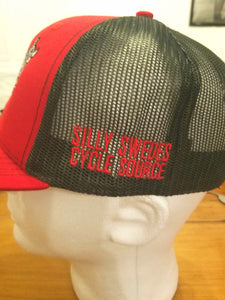Silly Swedes Cycle Source Snapback Hat- RED front RED bill- BLACK mesh- RED writing on side