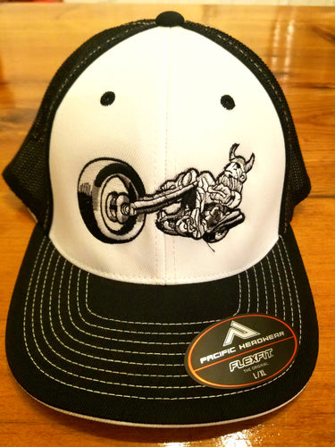 Silly Swedes Cycle Source Mesh fitted Hat- White front Black mesh- Red writing on back