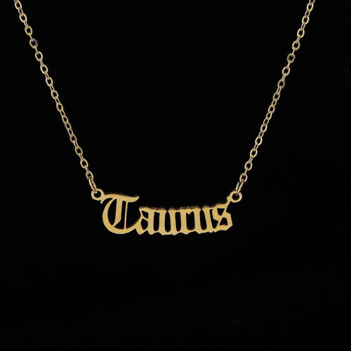 2020 New Constellation Zodiac Necklaces Jewelry for Women Antique Style Designed Letter Taurus Aries Necklaces Collier