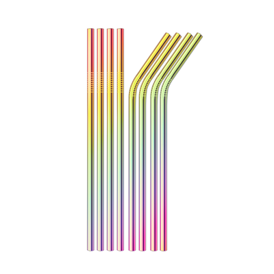 SWZLE Stainless Steel Drinking Straws - Rainbow Metallic (8 Pack)