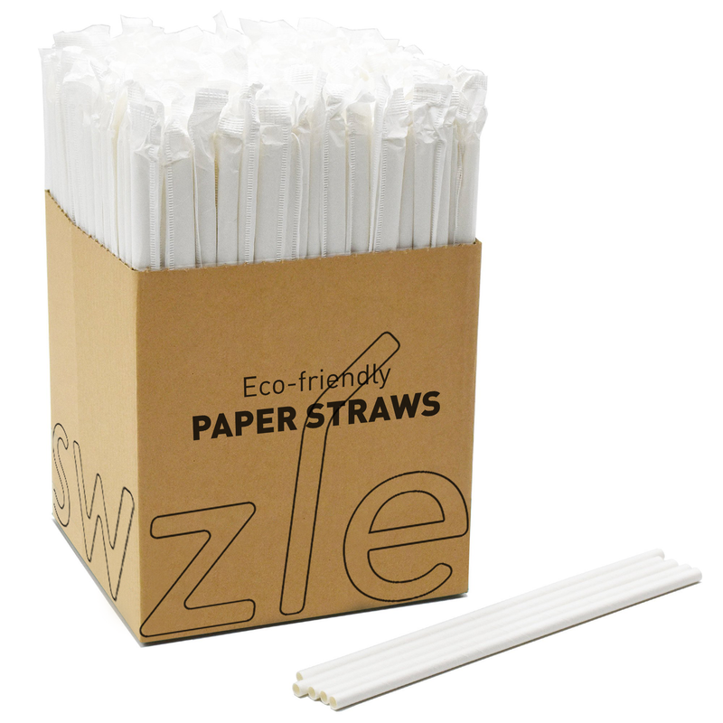 "8/"" White Paper Drinking Straws Eco Friendly Biodegradable Boxes of 250"