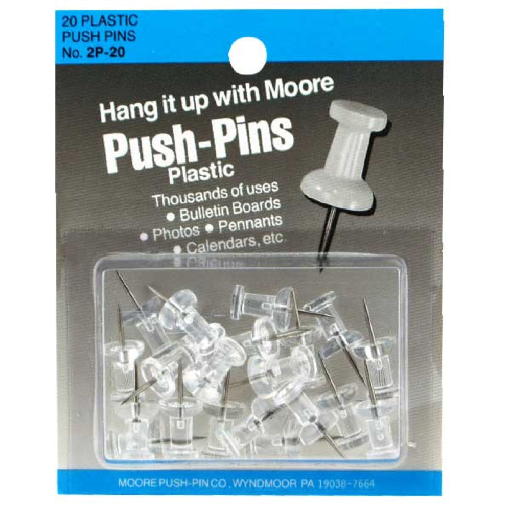 Push Pins, Clear, 20 Pins