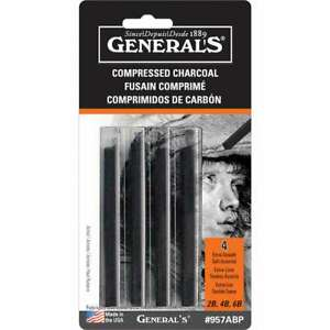 Generals Compressed Charcoal Sticks, pack of 4
