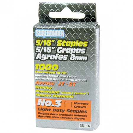 "#3 Light Duty 5/16"" Staples, Pack of 1000"