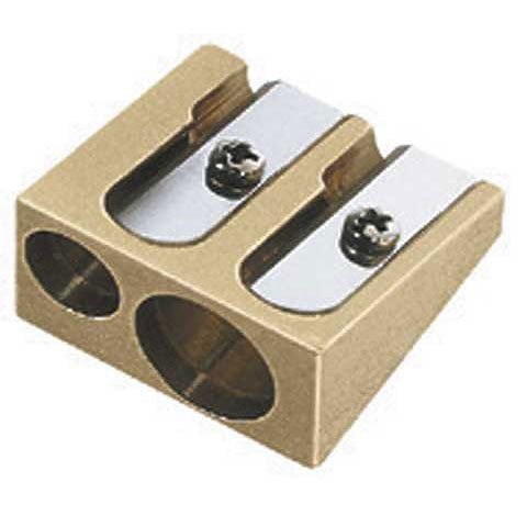 Brass Wedge Double-Hole Pencil Sharpener