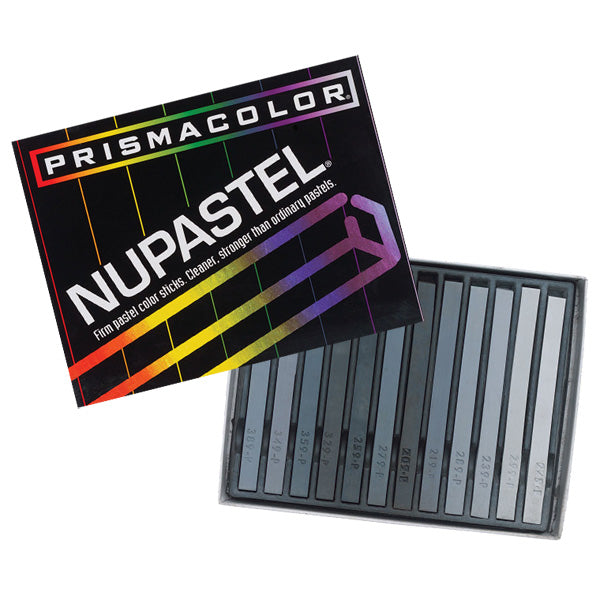 Prismacolor NuPastel Set of 12 (8 Grey 2each Black and White)