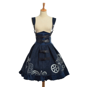 Womens Elegant Victorian Steampunk Wheel Lace Up Corset Dress