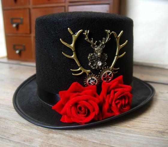 Gothic Steampunk Deer Head & Red Rose Top Hat Gothic Steampunk Fedoras Hats