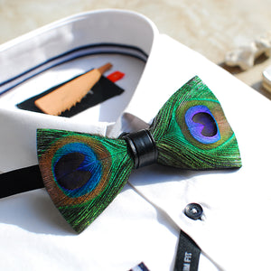 Men's Womens Gothic Steampunk Handmade Peacock Feather Bow Tie