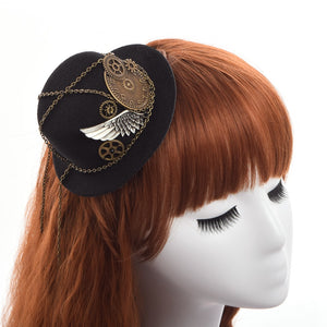Victorian Gothic Steampunk Gears, Wing & Chain Mini Top Hat Hairclip
