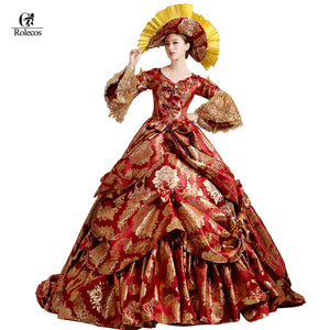 Womens Ladies Medieval Renaissance Victorian Dress Red Gold Masquerade Ball Gown Costume