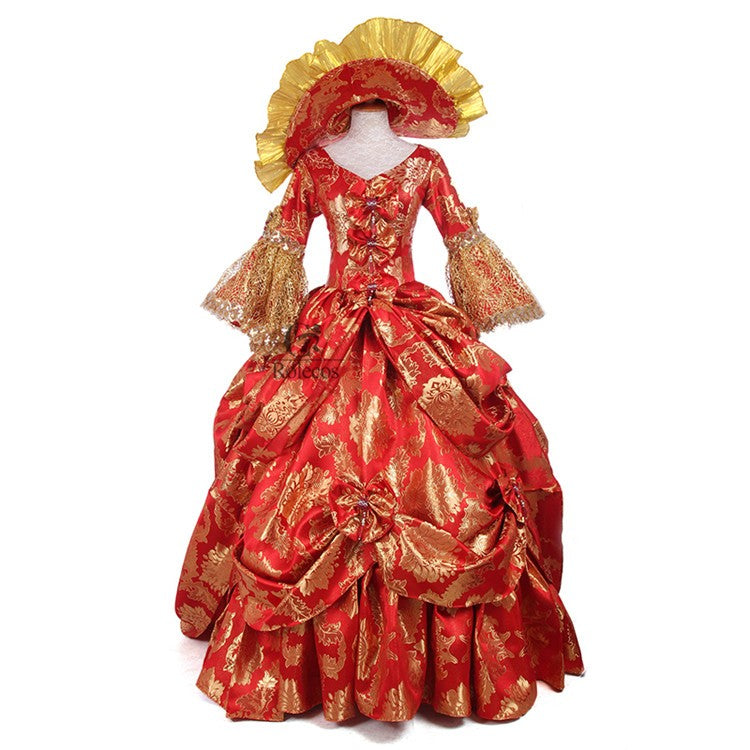 Womens Ladies Medieval Renaissance Victorian Dress Red Gold ...