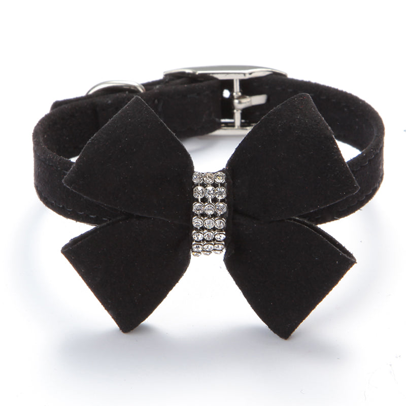 Pets Gothic Steampunk Puppy Dogs Cats Rhinestone Soft Velvet Bow Tie Soft Adjustable Collar