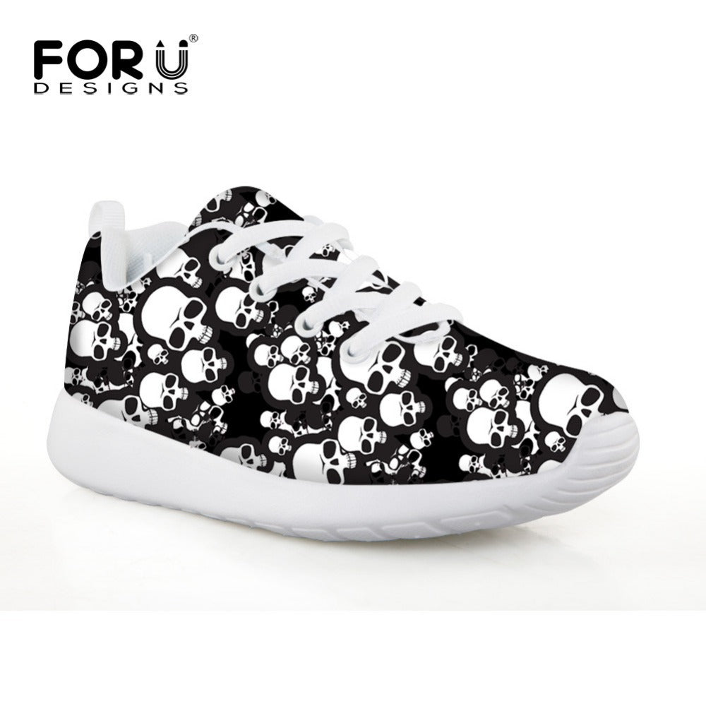 Boys Girls Gothic Rock Black & White Skull Lightweight Sneakers Trainers Multi Color Flat Running Comfortable Shoes