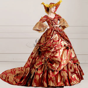 Womens Ladies Medieval Renaissance Victorian Dress Red Gold Masquerade Ball Gown Costume & Womens Ladies Medieval Renaissance Victorian Dress Red Gold ...