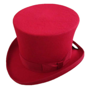 Mens Womens Victorian Steampunk Red/Black/White Wool Top Hat Fedora Mad Hatter Top Hat Magician Hats