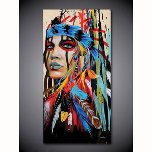 Beautiful Native American Indian Woman in Feather Headress Hand-Painted Oil Painting On Canvas