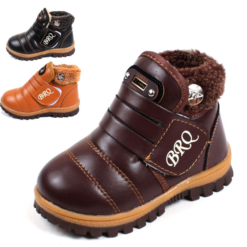 New Kids Unisex Warm Winter Leather Snow Boots Non-Slip Padded Boots Boys Girls