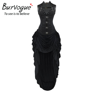 Burvogue Womens Gothic Rock Steampunk Dress Set Black Corset with Adjustable Skirt