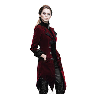 Womens Gothic Victorian Steampunk Embroidered Coat Jacket Black Red