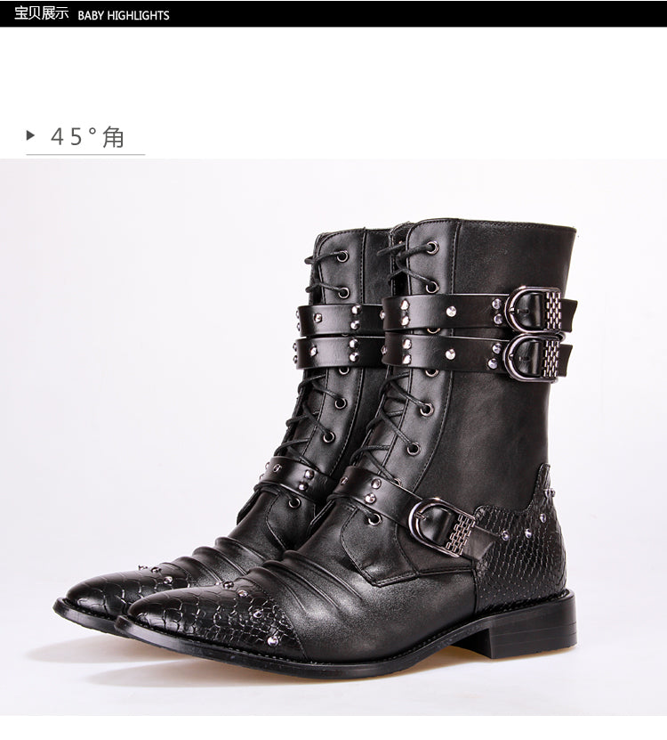 Mens Winter Victorian Gothic Steampunk Leather Motorcycle Boots