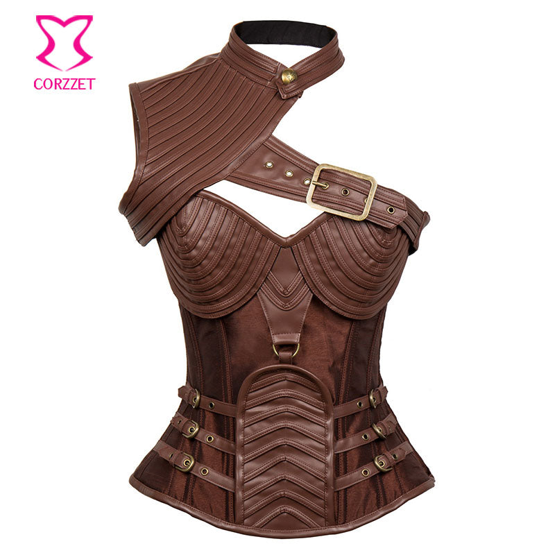 Womens Gothic Steampunk Brown Leather Armour Corset Plus Size Corsets Cosplay Bustiers