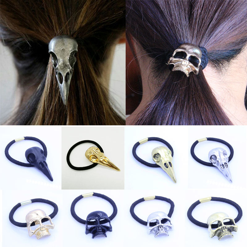 Womens Mens Girls Gothic Rock Steampunk Raven Skull Elastic Hair Bands Hair Jewelery