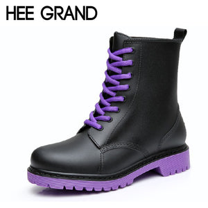 Womens Gothic Rock Punk Rainboots Waterproof Lace Up Ankle Boots