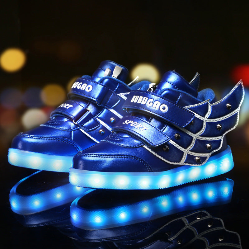 Childrens Boys Girls Mercury Wing Light Up Sports Shoes Trainers/Sneakers USB Charging