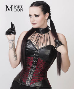 Moonight Gothic Rock Steampunk Steel Boned Faux Leather Halter Neck Corset