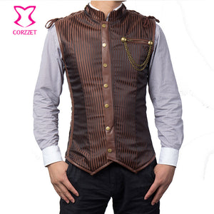 Mens Gothic Steampunk Brown or Black Striped Military Waistcoat