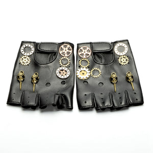 Unisex Gothic Steampunk Gear Cog PU Leather Gloves