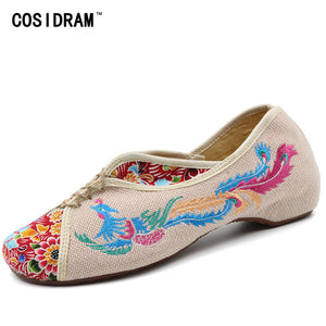 Womens Comfortable Chinese Style Phoenix Embroidered Canvas Shoes Black Red or Beige