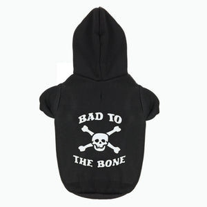 Pets Dogs Puppies Cats Gothic Rock Bad To The Bone Printed Hoodies Jumper Chihuahua & Large Dogs