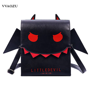 Womens Girls Gothic Punk Little Devil Vampire Bat Wing Backpack Little Devil Messenger Bags