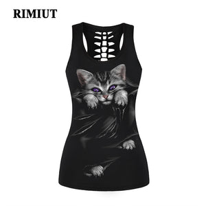 New Arrival Womens Gothic Cat Lion Skull & Unicorn Spine T-shirt Top