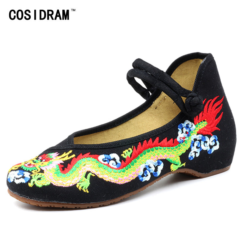 Womens Chinese Dragon Embroidered Flat Canvas Shoes Brand Designer Summer Shoes