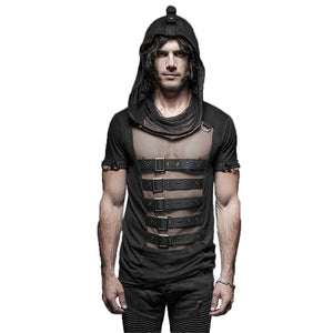 Mens Gothic Rock Steampunk Hollow Out Belt Cotton Mesh Hooded T Shirt