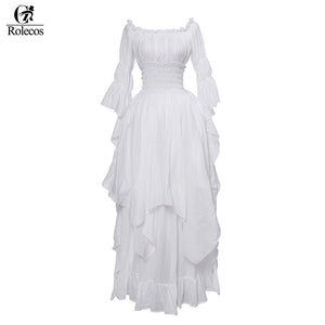Womens Rolecos Medieval Gothic White Cotton Dress Womens Vintage Ball Gown Party Masquerade Dress