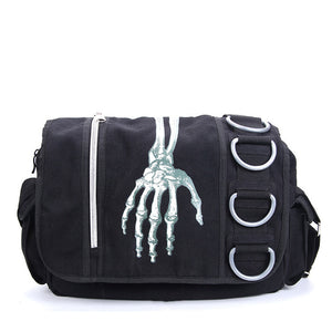Mens Womens Unisex Gothic Rock Skeleton Hand Walking Dead Waterproof Shoulder Messenger Bag