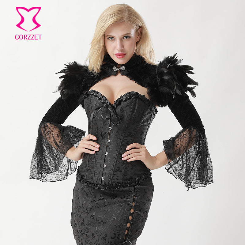 Womens Victorian Gothic Steampunk Black Feathers & Lace Corset Jacket